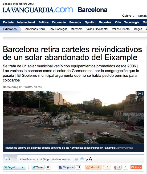 171012 _LA VANGUARDIA_ Barcelona retira carteles reinvindicavos de un solar abandonado del Eixample